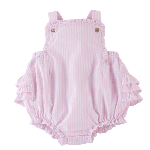 Mud Pie Baby Girl Pink Seersucker Sunsuit Size 3 Months to18 Months