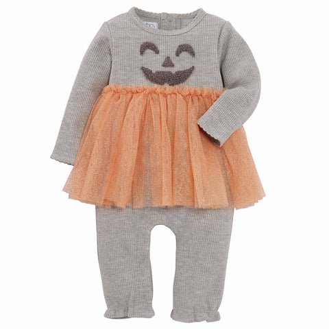 Image of Mud Pie Girls Halloween Jack O Lantern Tutu One Piece Romper 3M-12M