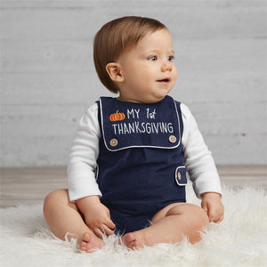 Mud Pie Boys My 1st Thanksgiving Shortall Bib 3M-9M