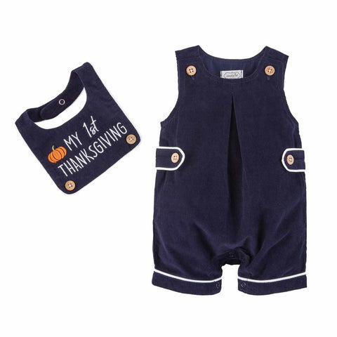Image of Mud Pie Boys My 1st Thanksgiving Shortall Bib 3M-9M