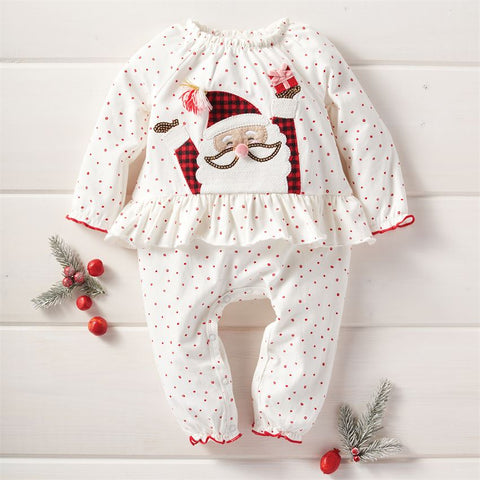 Image of Mud Pie Girl Christmas Red Santa One Piece / Romper