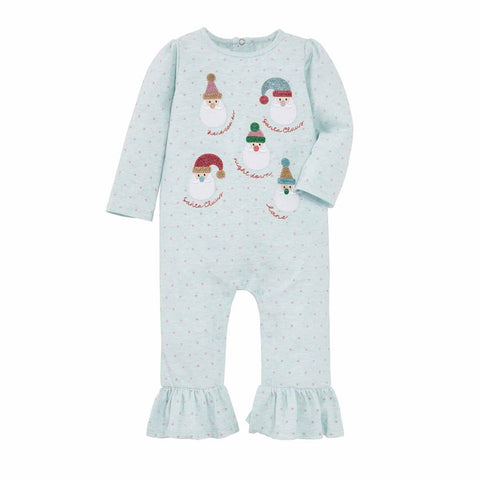 Image of Mud Pie Girl Christmas Holiday Blue Santa One Piece / Romper