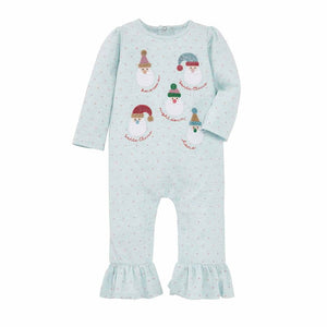 Mud Pie Girl Christmas Holiday Blue Santa One Piece / Romper