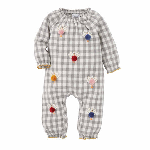 Image of Mud Pie Girls Thanksgiving Turkey Pom One-Piece Romper 3M-18M