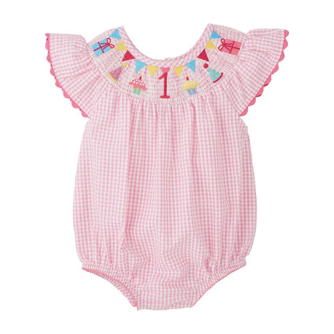 Image of Mud Pie Birthday Girl One Smocked Bubble / Romper 12-18M