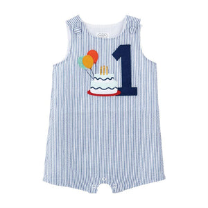 Mud Pie Boy 1 Seersucker Birthday Shortall 12/18 Months