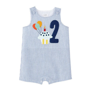 Mud Pie Boy 2 Seersucker Birthday Shortall 2T