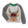 Mud Pie Boys Christmas Holiday Alpine Village Reindeer Buffalo Check Sweater