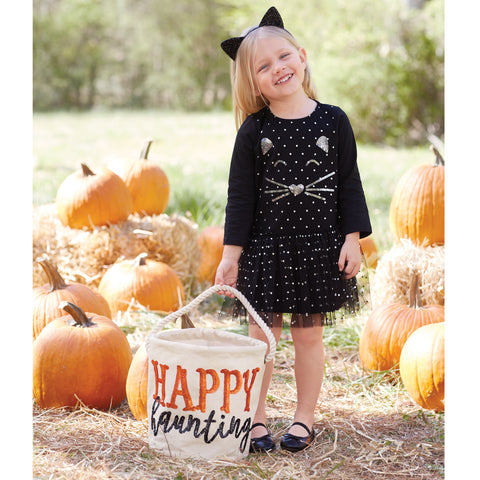 Image of Mud Pie Baby Girl Halloween Cat Dress 12/18M