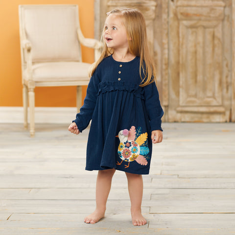 Image of Mud Pie Girls Thanksgiving Turkey Long Sleeve Dress 3M-5T