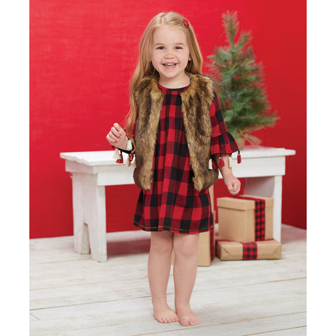 Mud Pie Christmas Smocked Buffalo Check Girl Dress