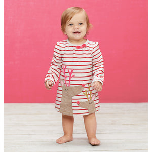Mud Pie Girls Christmas Holiday Red Striped Reindeer Applique Dress