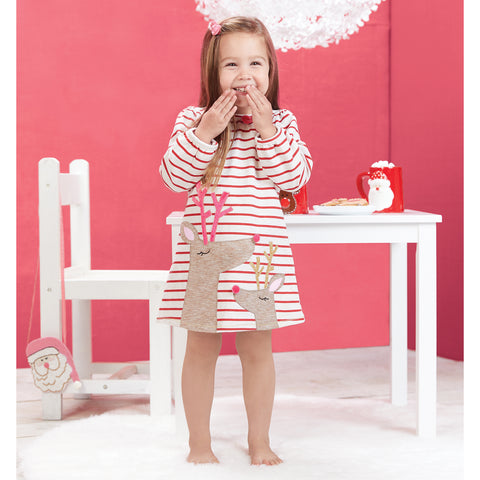 Image of Mud Pie Girls Christmas Holiday Red Striped Reindeer Applique Dress