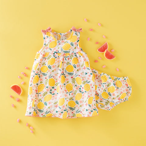 Image of Mud Pie Baby Girl Lemon Floral Dress Size 3 Months to 12