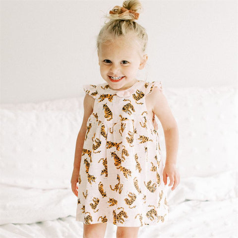 Image of Mud Pie Girls Tiger Muslin Dress Set 3M-18M