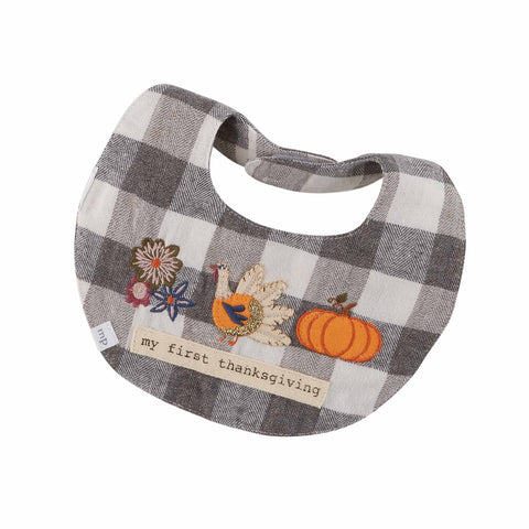 Image of Mud Pie Girls Halloween Thanksgiving Gingham Dress Set 3M-18M