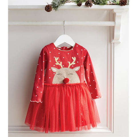 Image of Mud Pie Christmas Holiday Reindeer Mesh Dress