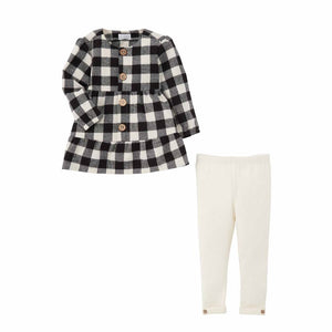 Mud Pie Christmas Black Check Tunic Legging Set 12-18M