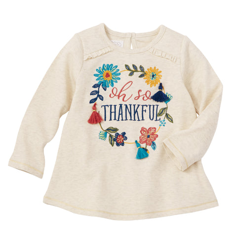 Image of Mud Pie Girls Thanksgiving Turkey / Oh So Thankful Long Sleeve Top 12M-5T
