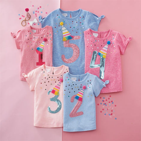 "Image of Mud Pie Little Girl ""Four"" Birthday Tee Size 4T"