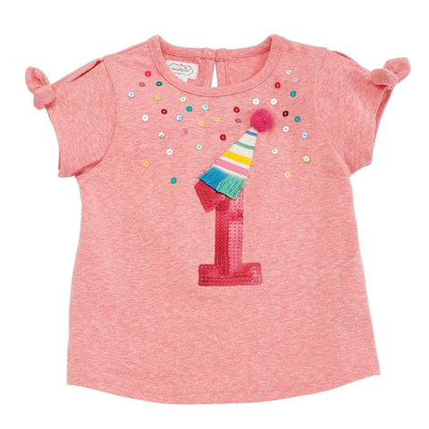 "Mud Pie Little Girl ""One"" Birthday Tee Size 12-18 Months"