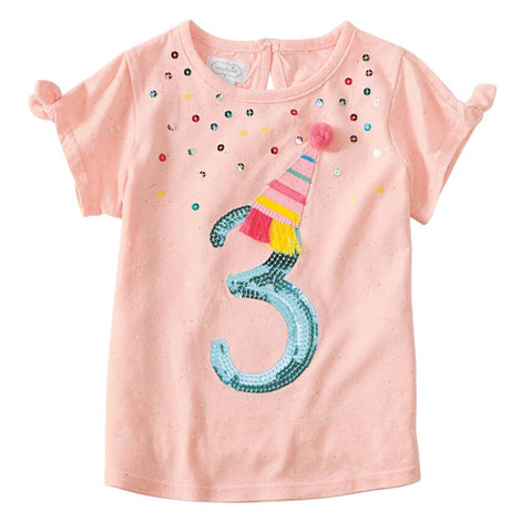 "Mud Pie Birthday Girl ""Three"" Birthday Tee Size 3T"