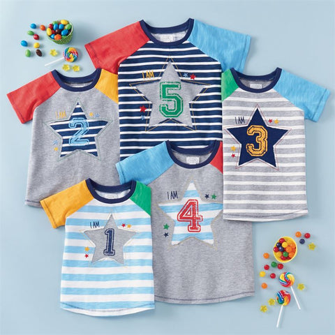 "Mud Pie Little Boy ""4"" Birthday Shirt 4T"