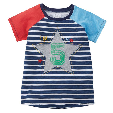 "Mud Pie Little Boy ""5"" Birthday Shirt 5T"