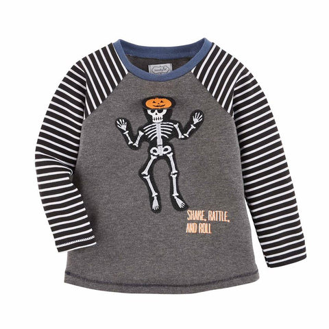 Mud Pie Halloween Boy Skeleton / Haunted House T-Shirt 12M-5T