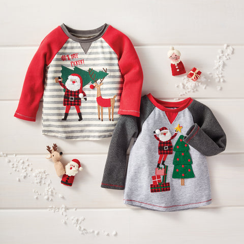Mud Pie Boy Christmas Alpine Village Santa Tree Reindeer Tees 12M-5T