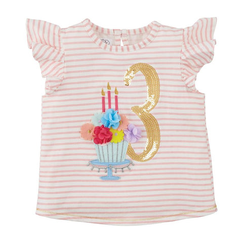 Mud Pie Girl Three Birthday Shirt 3T