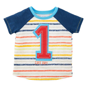 Mud Pie Baby Boy One Birthday Shirt 12-18M
