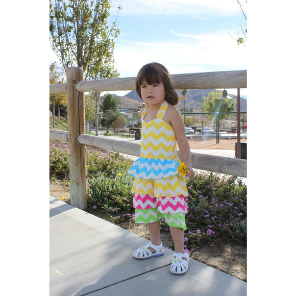 Dana Kids Spring Chevron Ruffle Tiered Halter Dress Size 2-8