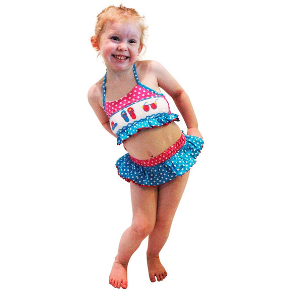 Dana Kids Sun Hat Sunglass Flip Flop Smocked Bikini / Swimsuit Girl Size 2T-7