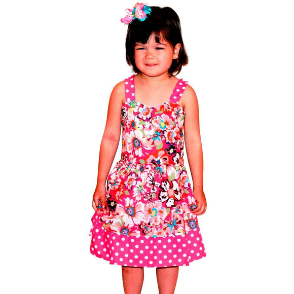Dana Kids Spring Summer Pink Flower Dot Girl Dress Size 4-10