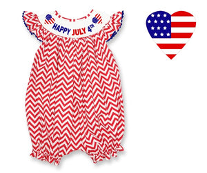 Dana Kids Happy July Fourth Hearts Hand Smocked Romper Baby Girls 9M-24M