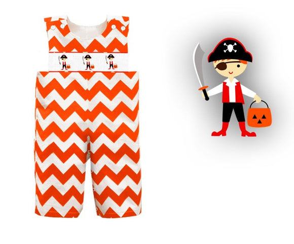 Dana Kids Halloween Orange Chevron Jack & Pirates Hand Smocked Longall Baby Boy 6M-2T