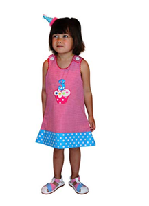 Dana Kids Birthday Girl #3 Cupcake Balloons Reversible Dress 3T