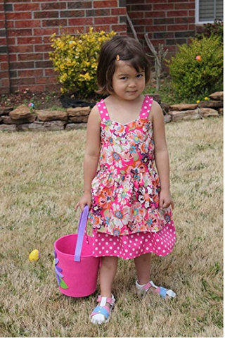 Image of Dana Kids Spring Easter Summer Pink Flower Dot Girl Dress Size 4-10
