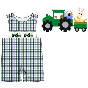 Dana Kids Boys Easter Monster Truck Bunny Smocked Shortall 6M-4T