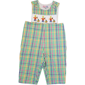 Dana Kids Little Boys Halloween Gingham Scarerows Smocked Longall 12M-4T