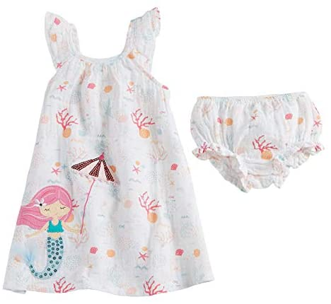 Image of Mud Pie Baby Girls' Mermaid Muslin Applique Dress