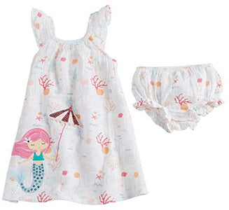 Mud Pie Baby Girls' Mermaid Muslin Applique Dress