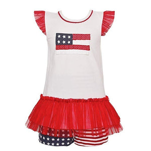 Bonnie Jean July Fourth Patriotic Little Girls Short Set 2T-3T-4T