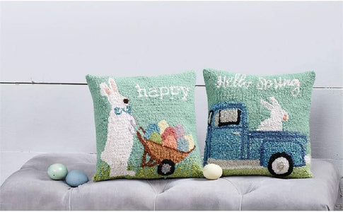"Mud Pie Happy Bunny Hooked Wool Pillow, 12"" x 12"", Blue"