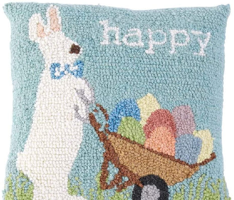 "Image of Mud Pie Happy Bunny Hooked Wool Pillow, 12"" x 12"", Blue"