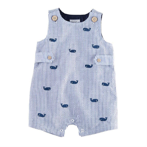 Mud Pie Whale Seersucker Shortall 6M to 18M