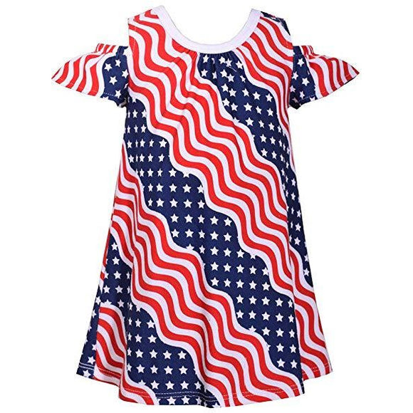 Bonnie Jean July Fourth Patriotic Wavy Stars and Stripes Little Girls Dress 2T-3T-4T