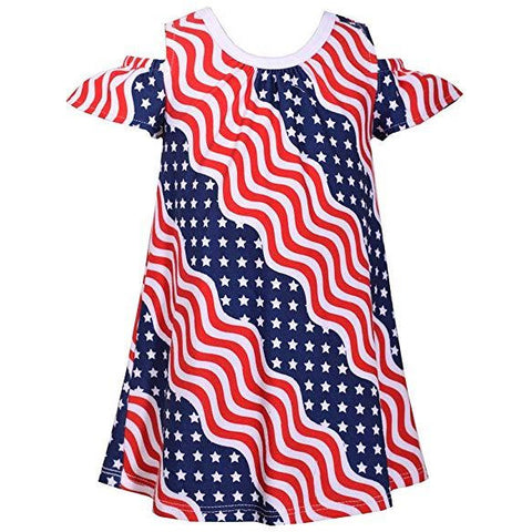Image of Bonnie Jean July Fourth Patriotic Wavy Stars and Stripes Little Girls Dress 2T-3T-4T