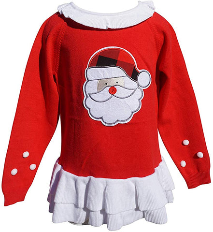 Dana Kids Gilrs Christmas Holiday Santa Long Sleeve Sweater 12M- 8 Years